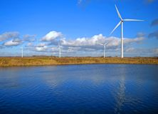 Wind Turbines And Lake Royalty Free Stock Photo