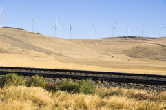 Wind Turbines And Railroad Tracks. Stock Photos