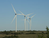Wind turbines, Arbuckle Mountain Wind Farm. Arbuckle Mountain Wind Farm consists of 50 Vestas V100 2.0 MW turbines. These modern wind turbine generators are Royalty Free Stock Photos