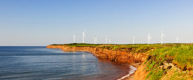 Wind turbines on atlantic coast Stock Images