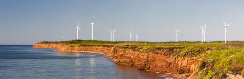 Wind turbines on atlantic coast Stock Photography