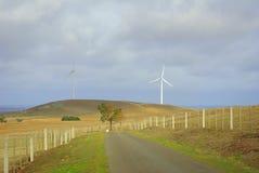 Wind turbines in australian landscape Stock Photo