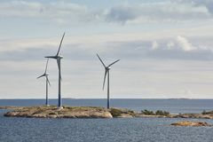 Wind turbines in the baltic sea. Renewable energy. Finland Stock Images