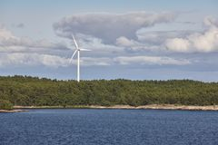 Wind turbines in the baltic sea. Renewable energy. Finland Royalty Free Stock Photos