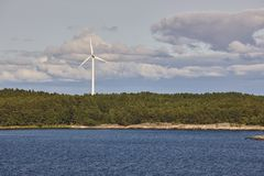 Wind turbines in the baltic sea. Renewable energy. Finland. Seascape Stock Photos