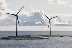 Wind turbines in the baltic sea. Renewable energy. Finland. Seascape Stock Photography