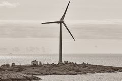 Wind turbines in the baltic sea. Renewable energy. Finland Stock Photos