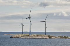 Wind turbines in the baltic sea. Renewable energy. Finland Royalty Free Stock Photo