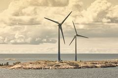 Wind turbines in the baltic sea. Renewable energy. Finland Royalty Free Stock Images