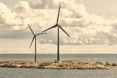Wind turbines in the baltic sea. Renewable energy. Finland. Seascape Royalty Free Stock Image
