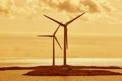 Wind turbines in the baltic sea. Renewable energy. Warm tone. Wind turbines in the baltic sea. Renewable energy. Finland seascape stock photos