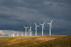 Wind Turbines Below A Stormy Sky Stock Images
