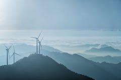 Wind turbines on the blue ridge mountains Stock Image