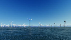 Wind Turbines on blue sea 3D render Royalty Free Stock Photography