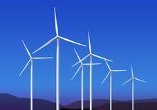 Wind turbines on blue sky Stock Images