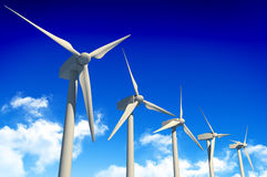 Wind turbines on blue sky Royalty Free Stock Images