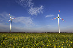 Wind Turbines with blue sky Royalty Free Stock Photography