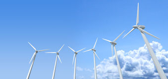 Wind Turbines Blue Sky Stock Images