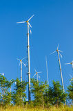 Wind turbines with blue sky Royalty Free Stock Images
