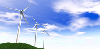 Wind Turbines Blue Sky And Grass Hill Royalty Free Stock Photo