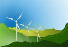 Wind turbines blue sky illustration design Royalty Free Stock Image
