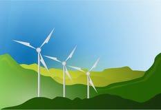 Wind turbines blue sky illustration design Royalty Free Stock Image