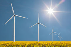 Wind turbines on a bright sunny day Royalty Free Stock Images