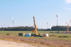 Wind turbines at the building Royalty Free Stock Image