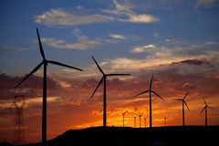 Wind turbines at a burning sunset Royalty Free Stock Photography