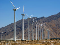Wind Turbines in the California Desert,. Near Palm Springs Stock Images