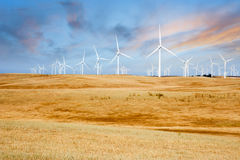 Wind Turbines on California Sunset Hills Royalty Free Stock Photo