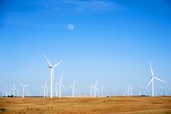 Wind Turbines on California Sunset Hills Stock Photography