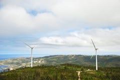 Wind turbines on Cape Vilan, Galicia, Spain Stock Photos