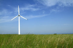 Wind turbines in china. Beautiful green meadow with Wind turbines generating electricity in Inner Mongolia of china Royalty Free Stock Photography