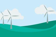 Wind turbines, clean energy, flat design landscape. Royalty Free Stock Photo