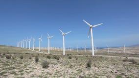 Wind turbines for clean energy. Fuerteventura, Spain stock footage