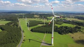Wind turbines for clean energy stock footage