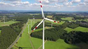 Wind turbines for clean energy stock video footage
