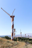 Wind turbines on a clear blue sky, at Golan  Heights, near the border with Syria, Israel Royalty Free Stock Images