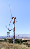 Wind turbines on a clear blue sky,  at Golan Heights, near the border with Syria, Israel Stock Image