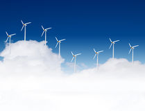 Wind turbines and clouds Royalty Free Stock Photo