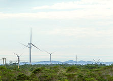 Wind turbines with clouds in the background and trees in the foreground. Stock Image