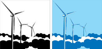 Wind turbines in the clouds. Composition of wind turbines in the clouds Royalty Free Stock Photography
