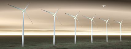 Wind turbines in cloudy nature Stock Images