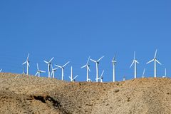 Wind turbines in Coachella Valley in California. Wind turbines on the hillside in Coachella Valley in California, United States Stock Image