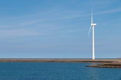 Wind turbines on the coast stock images