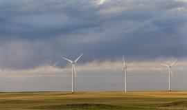 Wind turbines in Colorado prairie Stock Photos
