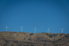 Wind turbines in the Columbia River Gorge royalty free stock photography