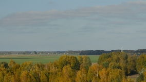 Wind turbines in the county of Birzai, Lithuania. can be seen in the distance behind a foret stock footage