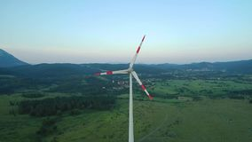 Wind turbines create renewable energy in slovenia. Central europe stock footage